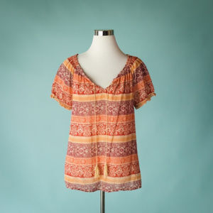 Lucky Brand L Geometric Stripe Boho Top
